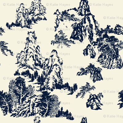 Landscapes by Shirley, Navy on Linen
