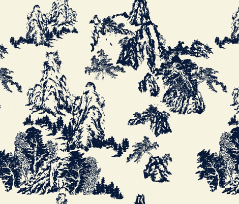 Landscapes by Shirley, Navy on Linen  fabric by katie_hayes on Spoonflower - custom fabric