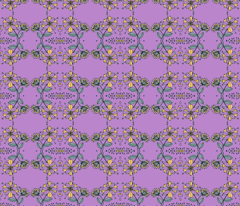 Floral bouquet squared-lilac fabric by unclemamma on Spoonflower - custom fabric