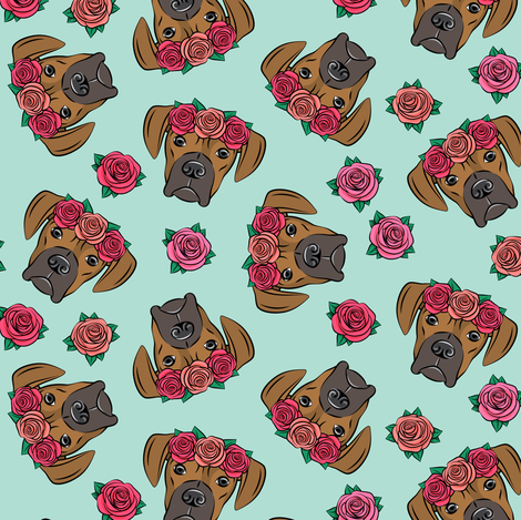 boxer  - floral crowns - fawn on aqua fabric by littlearrowdesign on Spoonflower - custom fabric