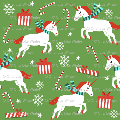 christmas unicorn - christmas unicorn fabric, christmas fabric, christmas fabric by the yard, holiday fabric, xmas fabric, cute fabric, christmas design, funny christmas - medium green