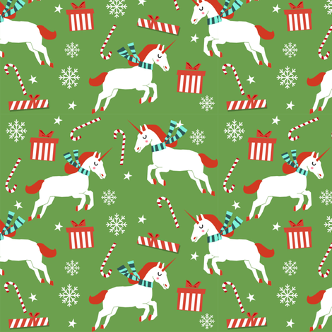 christmas unicorn - christmas unicorn fabric, christmas fabric, christmas fabric by the yard, holiday fabric, xmas fabric, cute fabric, christmas design, funny christmas - medium green fabric by charlottewinter on Spoonflower - custom fabric