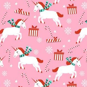 christmas unicorn - christmas unicorn fabric, christmas fabric, christmas fabric by the yard, holiday fabric, xmas fabric, cute fabric, christmas design, funny christmas - light pink