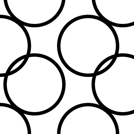 Large Scale Black and White Circles fabric by vintage_style on Spoonflower - custom fabric
