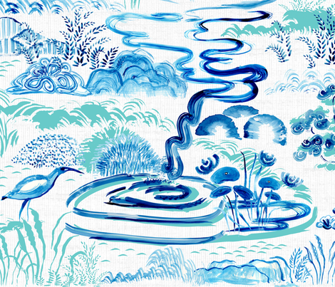 Modern Chinoiserie Landscape fabric by gartmanstudio on Spoonflower - custom fabric