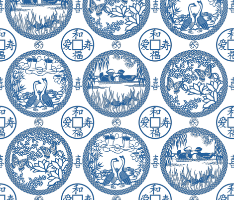 Marital bliss medalions - lapis fabric by victorialasher on Spoonflower - custom fabric