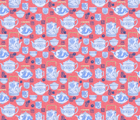 Teatime in China fabric by twohanddesign on Spoonflower - custom fabric