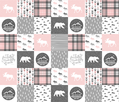 Pink and Grey Fearfully and Wonderfully Made/ love you to the mountains and back - Patchwork woodland quilt top  fabric by littlearrowdesign on Spoonflower - custom fabric