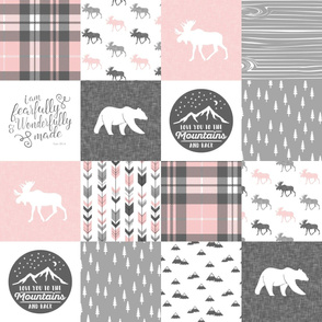 Pink and Grey Fearfully and Wonderfully Made/ love you to the mountains and back - Patchwork woodland quilt top