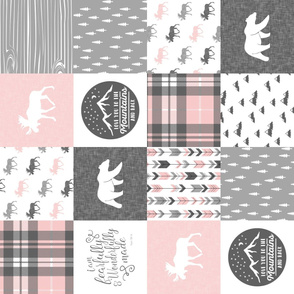 Pink and Grey Fearfully and Wonderfully Made/ love you to the mountains and back - Patchwork woodland quilt top  (90)