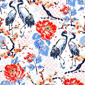 Romance of Cranes Chinoiserie XL