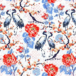 Romance of Cranes Chinoiserie small
