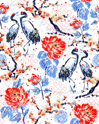 Romance of Cranes Chinoiserie