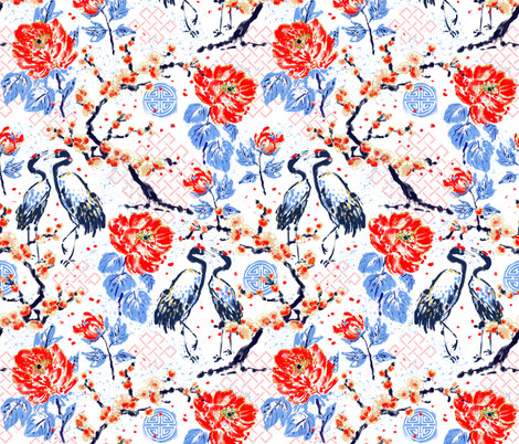 Romance of Cranes Chinoiserie fabric by helenpdesigns on Spoonflower - custom fabric