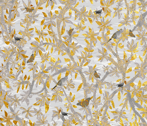 Chinoserie Orchid Trees Doves Cardinals and Butterflies fabric by kedoki on Spoonflower - custom fabric