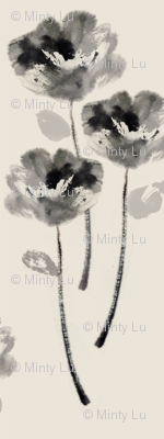 Chinese ink painting flower