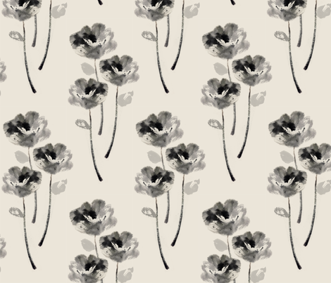 Chinese ink painting flower fabric by alpinist on Spoonflower - custom fabric