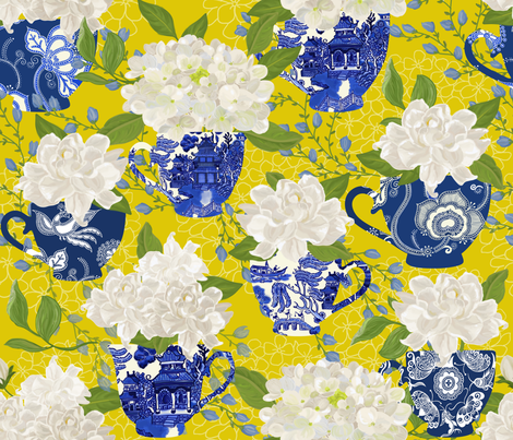BLUE WILLOW CHINOISERIE YELLOW fabric by honoluludesign on Spoonflower - custom fabric