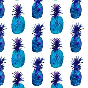 Blue pineapples in watercolor