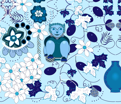 Foo Dog Blue & Grapes fabric by gracelillydesigns on Spoonflower - custom fabric