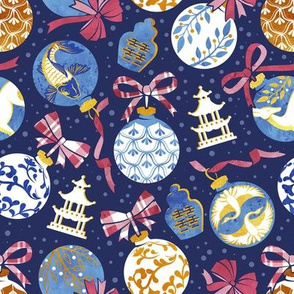 Merry Christmas  - Chinoiserie Ornaments // gold white blue and red
