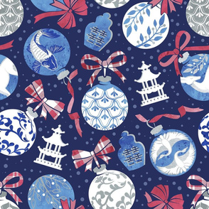 Merry Christmas  - Chinoiserie Ornaments // silver white blue and red