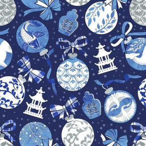 Merry Christmas  - Chinoiserie Ornaments // silver white and blue