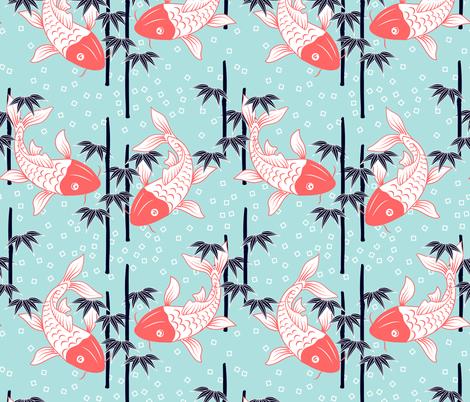 Koi pond fabric by ony_ on Spoonflower - custom fabric