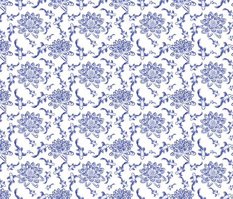 Koi Water Garden Chinoiserie fabric by stardusted_hearts on Spoonflower - custom fabric