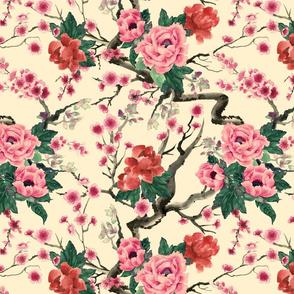 sakura and peony vintage