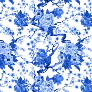 sakura and peonies (blue)