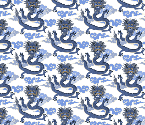 Dragon - blue and white fabric by vivdesign on Spoonflower - custom fabric