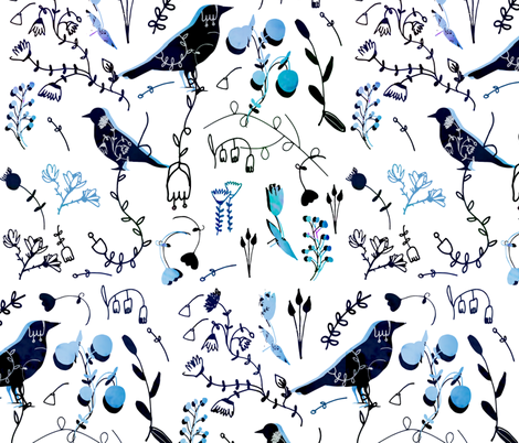 Chinoiserie White Blue Paint fabric by bruxamagica on Spoonflower - custom fabric