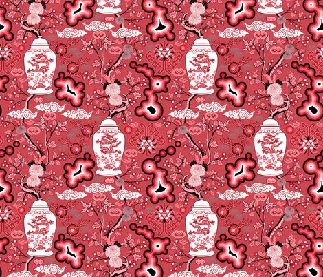 Neo Chinoiserie (Sanguine) fabric by vannina on Spoonflower - custom fabric