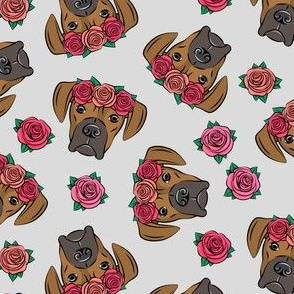boxer  - floral crowns - fawn on grey