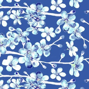 cherry blossom dramatic blue