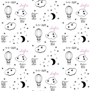 moon star balloon nursery2  - LG 6 black and white-PERSONALIZED pink Sofia