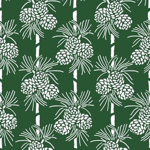 White Christmas Pine Cones on Forest Green: Holidays Dark Green