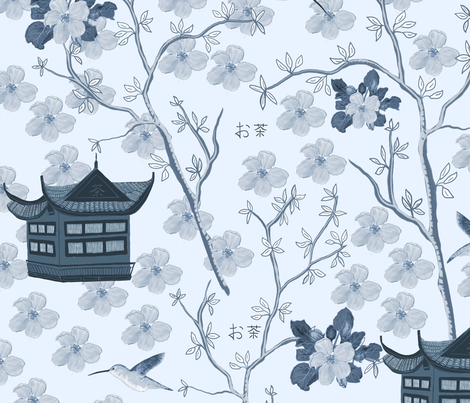 Chinoiserie-pattern-1---flat---150 fabric by kathleenbruceillustration on Spoonflower - custom fabric