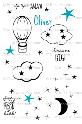 Blue moon star balloon nursery2  - MED4 black and white-PERSONALIZED Oliver