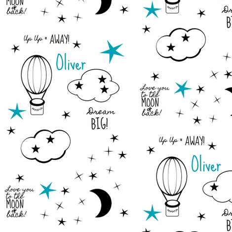 Blue moon star balloon nursery2  - MED4 black and white-PERSONALIZED Oliver fabric by drapestudio on Spoonflower - custom fabric