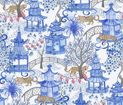 Party Leopards in the Pagoda Forest fabric by danika_herrick on Spoonflower - custom fabric
