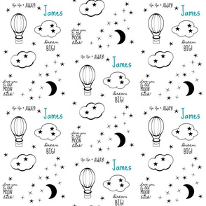 moon star balloon nursery2  - LG 6 black and white-PERSONALIZED blue for James