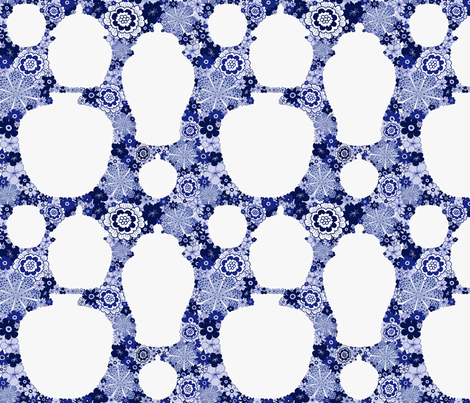chinoiserie flowers and ginger jars fabric by melanie_jane_designs on Spoonflower - custom fabric