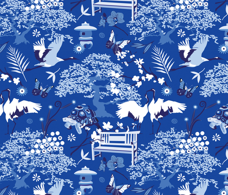 My chinese garden – my sanctuary fabric by camcreative on Spoonflower - custom fabric