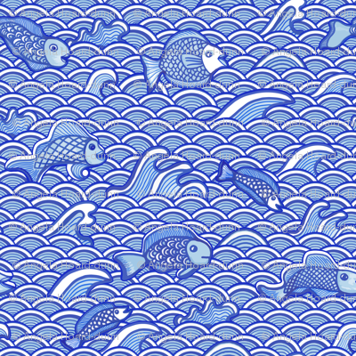 Fish in the Sea blue and white