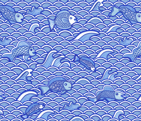 Fish in the Sea blue and white fabric by dunnspun on Spoonflower - custom fabric