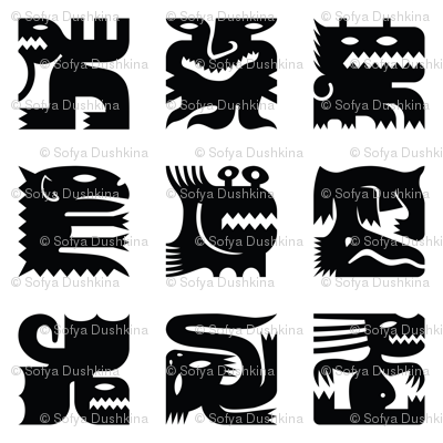 Black and white square monsters