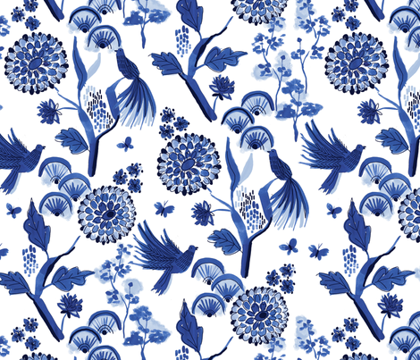 blue chinoiserie fabric by laura_may_designs on Spoonflower - custom fabric