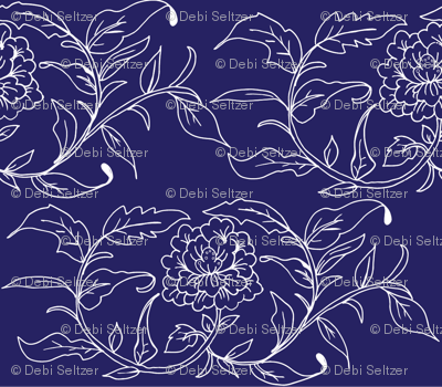 Chinoiserie Blue Floral Tile